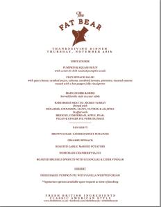 Thanksgiving menu by Fat Bear